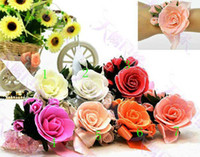 Wholesale Bridal Bouquets Flowers Rose Simulation - Free shipping New style hot sell simulation rose flowers Wedding Bridal Bouquets bride Wrist flowers bride's headdress