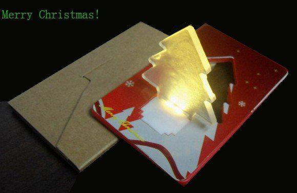 Nouvelle promotion carte de lampe de carte LED arbre de Noël CREIT lampe lumière + keypress haute qualité + bateau shipDHL libre