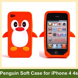 Wholesale Iphone Silicone Penguin Case - Wholesale 3D Penguin Pattern Soft Silicone Cover Case for iPhone 4 4s 30pcs lot Free Shipping