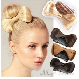 Wholesale Gold Hair Bows - wholesale 10 pcs Fashion Bow Bowknot Comb clip Hairpiece Synthetic