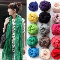 Wholesale Crinkled Scarves - 10 pcs HOT Sale Women Soft Long Crinkle Scarf Wraps Shawl Stole