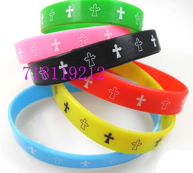 24 st jesus armbandsor färg mix cross silikon armband grossist smycken mycket