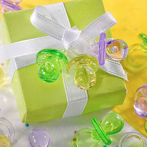Free shipping-100pcs Clear Green Color Mini Acrylic Baby Pacifier Baby Shower Favors~Cute Charm