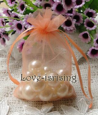 Envío-100pc 10x15cm Sheer favor de la boda bolsa del Organza del regalo del partido bolsa de joyería Coral / caramelo