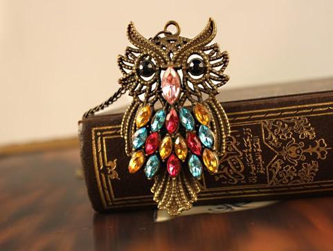 Frete Grátis 15 pcs * Retro diamante cristal coruja colar camisola cadeia