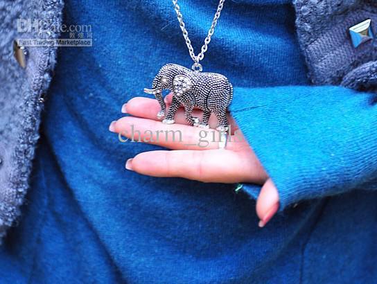 무료 배송 15pcs * 레트로 새겨진 코끼리 다이아몬드 크리스탈 목걸이 스웨터 체인