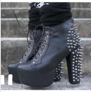 3e6ccd5ebc76 2012 Sexy Chic Ladies Black Knight Rivets Lace Up High Platform Chunky Heel  Ankle Boots 35 To 40 Boot Ankle Boots From Tradingbear