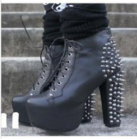 damas negro encaje hasta botas de tobillo al por mayor-2012 Sexy Chic Ladies Black Knight Remaches Lace Up High Platform Chunky Botines de tacón de 35 a 40