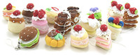 Wholesale Fairy Cup Cakes - 1 set 16 pcs Mini Cute Sweet Cloth CAKE Key Chain Hanging Wedding Favor Gift Hot