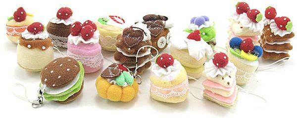 1 set 16 pcs Mini Cute Sweet Cloth CAKE Key Chain Hanging Wedding Favor Gift Hot