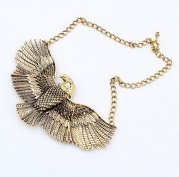 Wholesale leather bib necklaces - European Style Fashion The Eagle Expanded Its Wings Choker Bib Necklace 6pcs lot