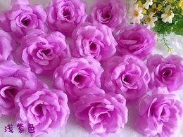 "Wholesale Violet Silk Flowers - LIGHT VIOLET Color 200p Dia. 8cm 3.14"" Artificial Simulation Silk Camellia Rose Peony Flower Wedding Christmas Party"