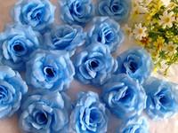 seide kamelie blau großhandel-Hellblau 200 P 8 cm Künstliche Simulation Seide Kamelie Rose Pfingstrose Blume Hochzeit Weihnachtsfeier