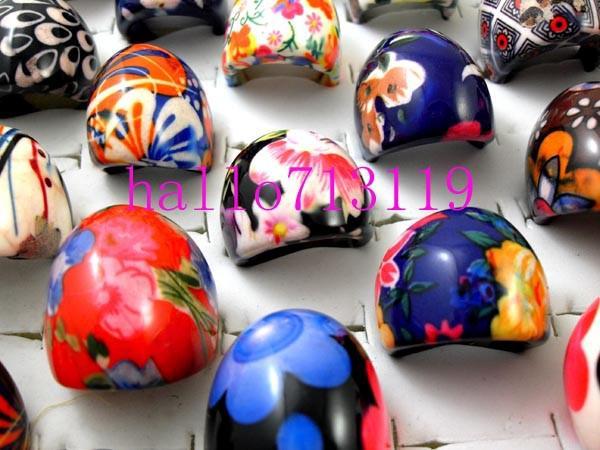 top quality big resina anéis mulheres senhora flor mix cor charme anéis atacado moda jóias lotes