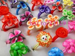 Wholesale Plastic Flower Rings - 100pcs Mix Flower Girl's Children's Kids rings birthday Party gift Wholesale Jewelry lots