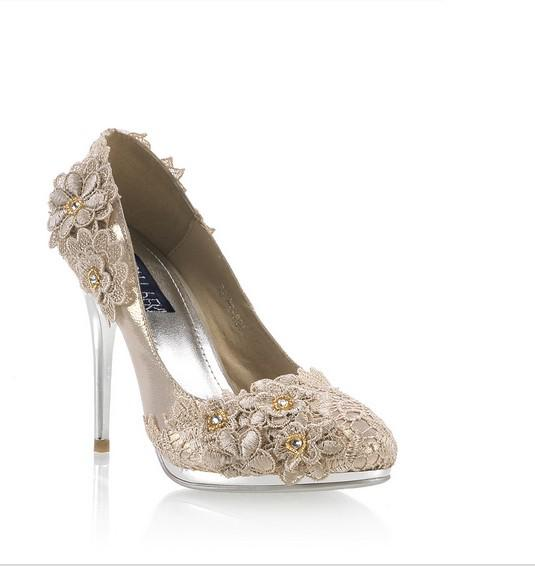 champagne color wedding shoes 2012 women s lace champagne heels waterproof shoes 2539