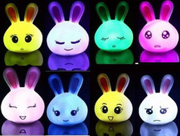Wholesale Multi Color Changing Lights - NEW Multi Lovely Rabbit Light Lamp Color Change LED Lamp Night Baby Sleeping Home Deco NEW 375