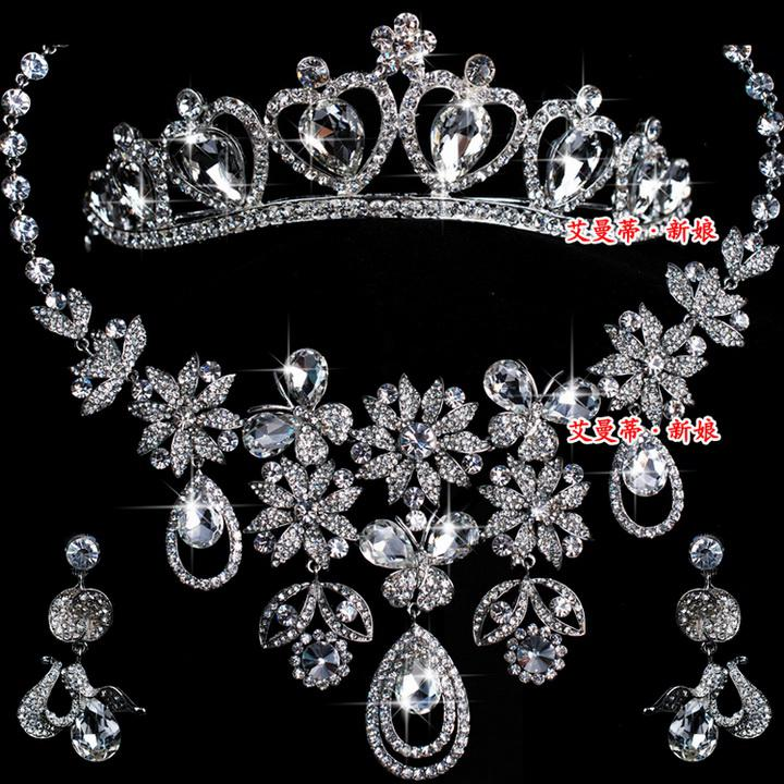 Charm Wedding Jewelry Set Diamond Necklaces Earrings Tiaras Set