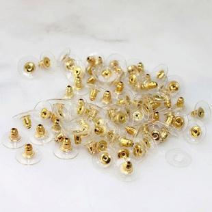 도매 골든 톤 플라스틱 귀걸이 스토퍼 귀 포스트 너트 W / 패드 11x6mm을 보석 찾기 액세서리 백업