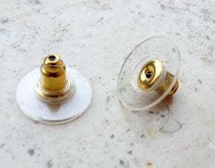 Toptan Altın Ton Plastik Küpe tıkaçlar Kulak Mesaj Kuruyemiş W / Pedler 11x6mm Mücevher bulma aksesuarları yedekler