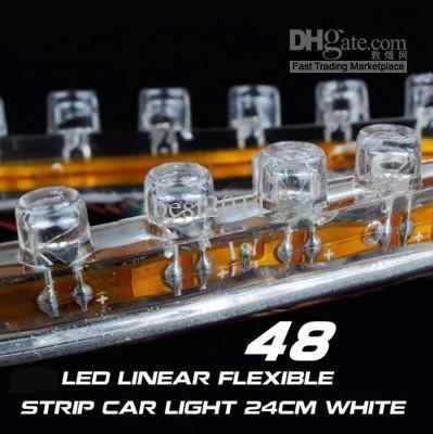 Superlight 48cm 48 LED linjär flexibel bandbil 5 Färg kan välja flexibelt band Ljus 12V