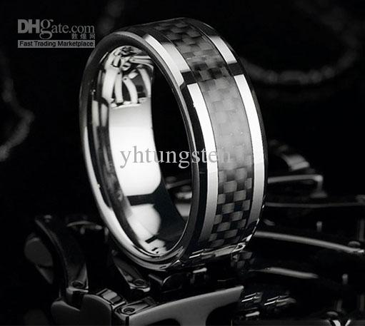 8mm Tungsten Carbide Mens Wedding Band Ring Black Size All Wedding