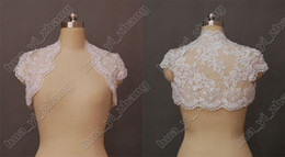 Wholesale Alencon Lace Sleeves - Modest Alencon Lace Beaded Cap Sleeves Wedding Bridal Bolero Jacket wrap for Bride Actual Real Image