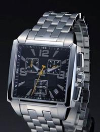 Wholesale Square Dial Watches Men - Men's Chronograph Black Dial T Trend Quadrato Watch Sport Watches Men Wristwatch