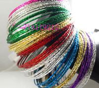 Wholesale Color Metal Bangle - Wholesale 200pcs Multi color Mix Girl's Women's Fashion Metal Bracelets   Bangle Jewelry Lots