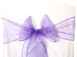 wedding chair decorations diy Canada - 25pcs Purple Organza Sashes Chair Cover Bow DIY Wedding Party Banquet Sash High Quality Chair Decoration