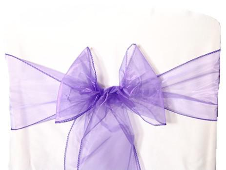 25pcs Purple Organza Sashes Chair Cover Bow DIY Wedding Party Banquet Sash High Quality Chair Decoration