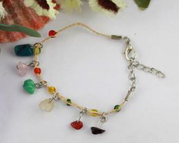 Wholesale Chip Bracelets Wholesale - 12PCS Mixed colour Stone chip raffia bracelets Anklets #21599