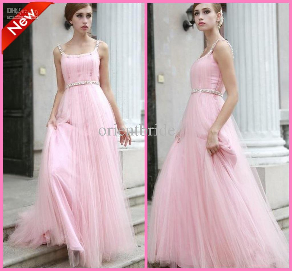 Pink High Quality Tank Beaded Empire Waist Tulle Skirt Long ...