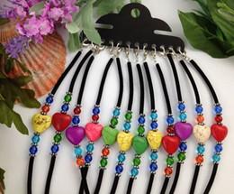 Wholesale Colour Heart - 12PCS Mixed Colour Heart Velvet Childrens Bracelets #21615