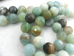 Wholesale Natural Amazonite - 12mm Natural Faceted Amazonite Round Beads DIY Gemstone Loose Beads Free Shipping