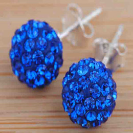 Wholesale Fast Stud - Fast Shipping 925 Silver 10mm Blue Pave Clay Disco Crystal Ball Bead Stud Earrings 60pairs