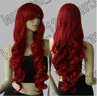 "Wholesale Long Cosplay Wigs Free Shipping - Free Shipping 32"" Long Heat Resistant Big Spiral Curl Red Cosplay Wig 80cm"