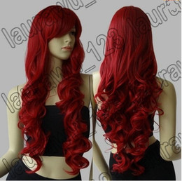 "Wholesale White Wig Cosplay Long - Free Shipping 32"" Long Heat Resistant Big Spiral Curl Red Cosplay Wig 80cm"