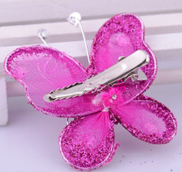 Wholesale Birthday Girl Pin - Wholesale Butterfly Hair Pin Clip Flower Girl Wedding Bridal Prom Party Birthday Party Butterfly Hair accessory clip