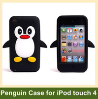 Wholesale D Penguin Pattern Soft Silicone Cover Case for iPod touch