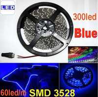 SMD 3528 LED Light Strip non-imperméable à l'eau de bande flexible LED Light Blue 300LED DC12V Party CERoHS 20m / lot
