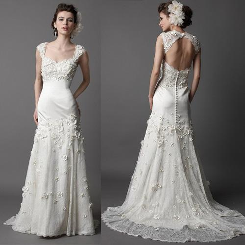 Keyhole Wedding Gowns: Noble Trumpet Court Open Keyhole Back Floral Off The
