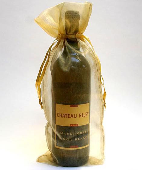 Freies Schiff 200 stücke 14 * 36 cm Gold Weinflasche Organza Taschen Hochzeit Weihnachten Süßigkeiten Geschenk Perlen Schmuck Taschen