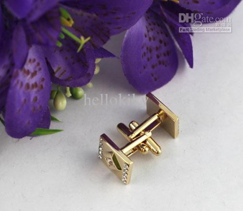 1 conjunto de placa de ouro Retangle abotoaduras de strass # 22066