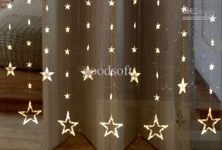 Free Shipping Warm White Five Pointed Star Curtain String Lights LED Light  String