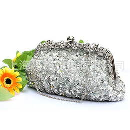 Wholesale Sequin Wedding Clutch - 2015 In stock silver crystal sequin heavy beaded antique wedding bridal handbag evening party handbag clutch