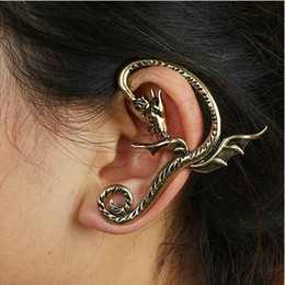 Wholesale Ear Bronze Punk - New Punk Rock Earrings Bronze Silver Metal Wrap Fly Fair Dragon Ear Cuff Clip