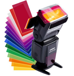 Wholesale Pentax Photography - 12 Multi colors photography shoot square color filters Kit for flash LED video lights H001