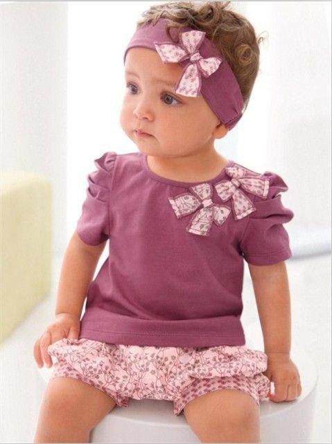 4af7a99a5e74 HOT! Toddler Baby Girl T-shirt+Pants+Hair Band Kid s Bowknot ...