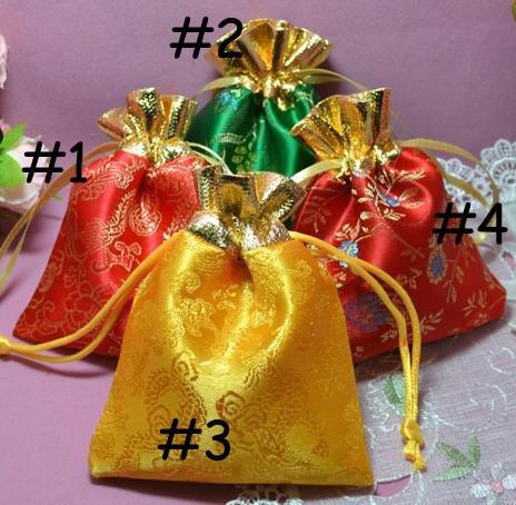 Gratis schip 100 stks 10 * 12cm hoge kwaliteit zijden tas sieraden tassen bruiloft candy kralen xmas geschenk tassen